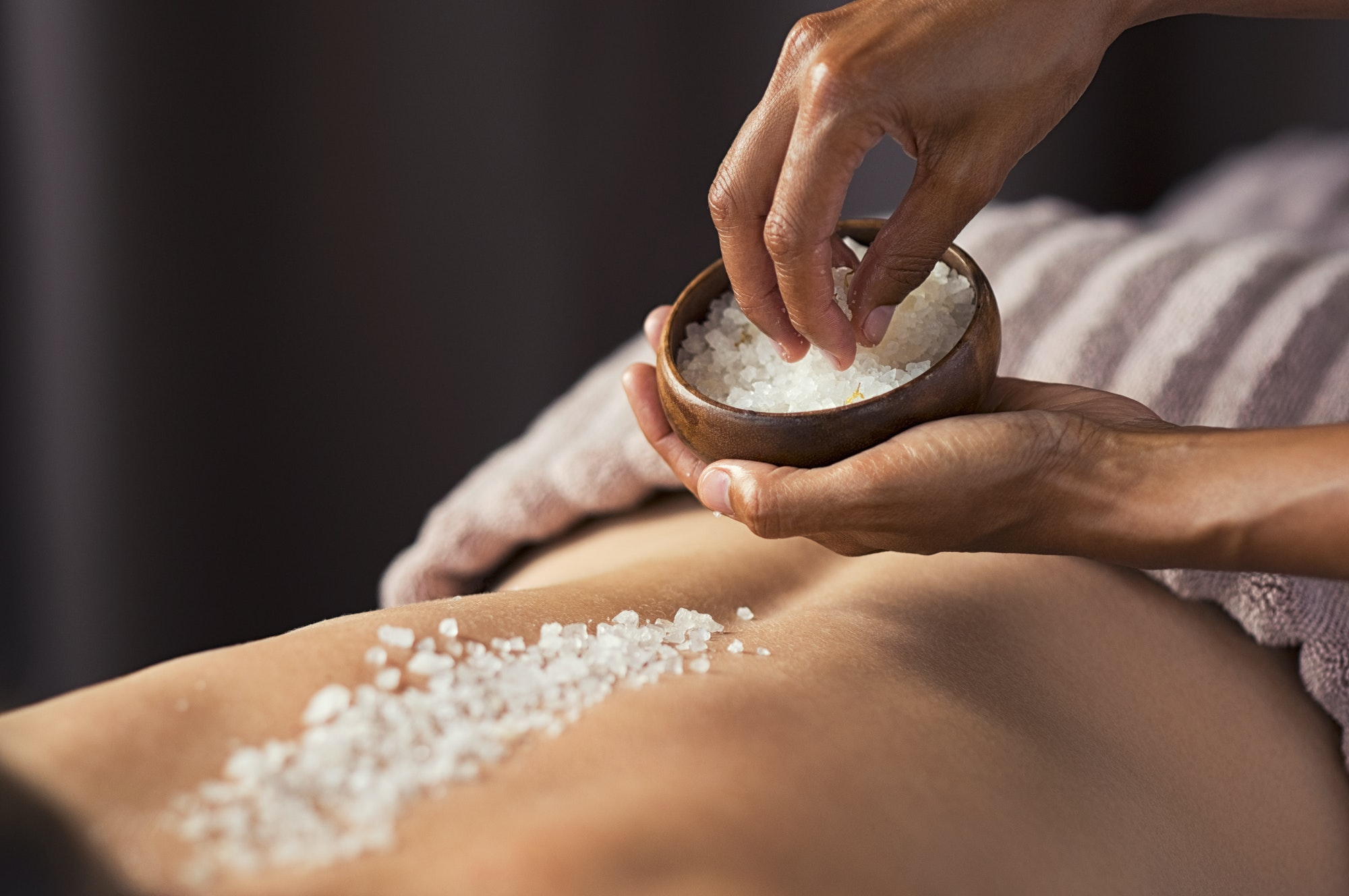 Body scrub with salt at spa